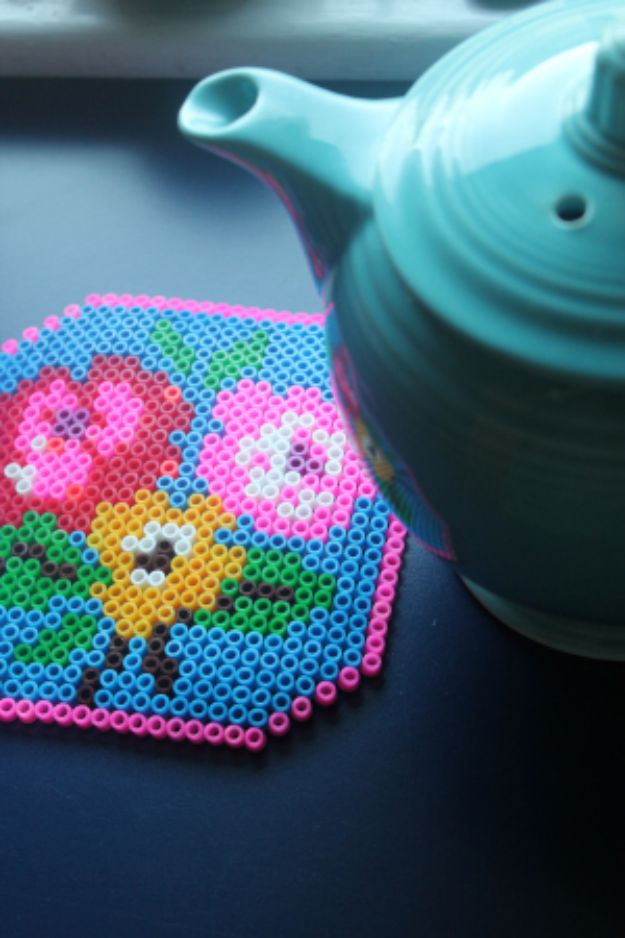 DIY perler bead crafts - Perler Bead Trivet - Easy Crafts With Perler Beads - Cute Accessories and Homemade Decor That Make Creative DIY Gifts - Plastic Melted Beads Make Cool Art for Walls, Jewelry and Things To Make When You are Bored #diy #crafts