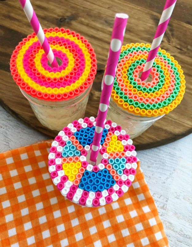 DIY perler bead crafts - Perler Beads Drink Topper - Cute Accessories and Homemade Decor That Make Creative DIY Gifts - Plastic Melted Beads Make Cool Art for Walls, Jewelry and Things To Make When You are Bored #diy #crafts