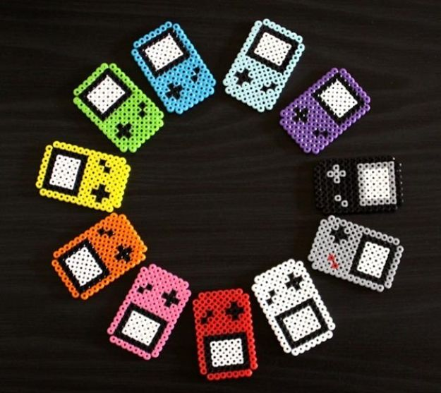 DIY perler bead crafts - Perler Beads GameBoy Fridge Magnets - Easy Crafts With Perler Beads - Cute Accessories and Homemade Decor That Make Creative DIY Gifts - Plastic Melted Beads Make Cool Art for Walls, Jewelry and Things To Make When You are Bored #diy #crafts