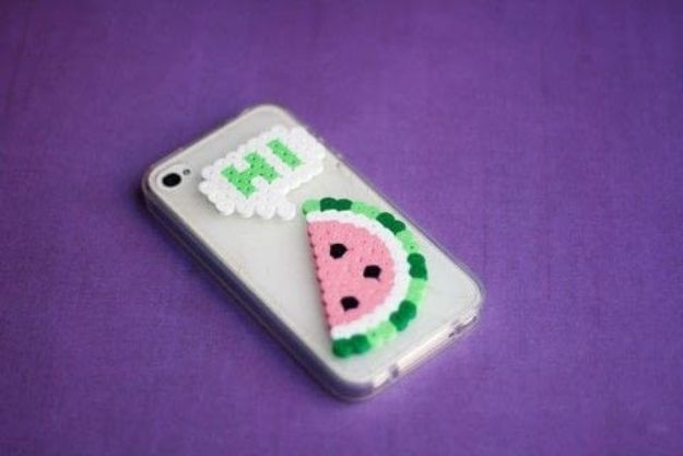 DIY perler bead crafts - Perler Beads Phone Cover - Easy Crafts With Perler Beads - Cute Accessories and Homemade Decor That Make Creative DIY Gifts - Plastic Melted Beads Make Cool Art for Walls, Jewelry and Things To Make When You are Bored #diy #crafts