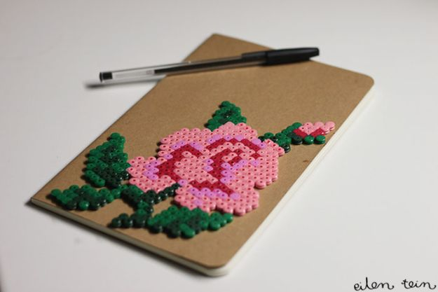 DIY perler bead crafts - Perler Flower Notebook - Easy Crafts With Perler Beads - Cute Accessories and Homemade Decor That Make Creative DIY Gifts - Plastic Melted Beads Make Cool Art for Walls, Jewelry and Things To Make When You are Bored #diy #crafts