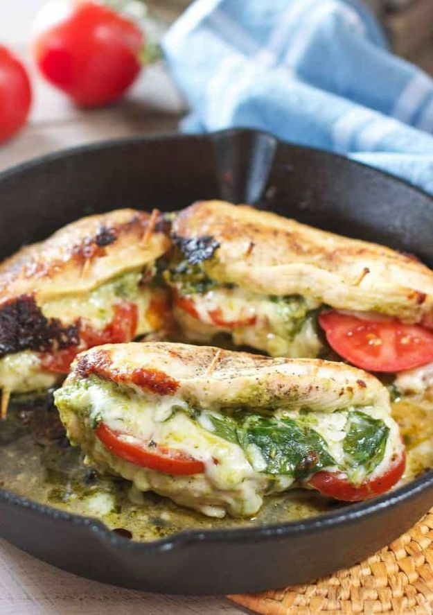 Chicken Breast Recipes - BPesto Mozzarella and Tomato Stuffed Chicken Breasts - Healthy, Easy Chicken Recipes for Dinner, Lunch, Parties and Quick Weeknight Meals - Boneless Chicken Breast Casserole Recipes, Oven Baked Ideas, Crockpot Chicken Breasts, Marinades for Grilled Foods, Salads, Shredded Chicken Tacos, Creamy Pasta, Keto and Low Carb, Mexican, Asian and Italian Food #chicken #recipes #healthy