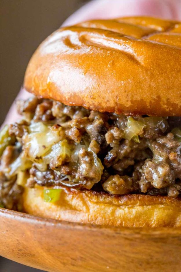 Easy Dinner Recipes - Philly Cheese Steak Sloppy Joes - Quick and Simple Dinner Recipe Ideas for Weeknight and Last Minute Supper - Chicken, Ground Beef, Fish, Pasta, Healthy Salads, Low Fat and Vegetarian Dishes - Easy Meals for the Family, for Two, for One and Cook Ahead Crockpoit Dinners - Cheap Casseroles and Budget Friendly Foods to Make at Home http://diyjoy.com/easy-dinner-recipes