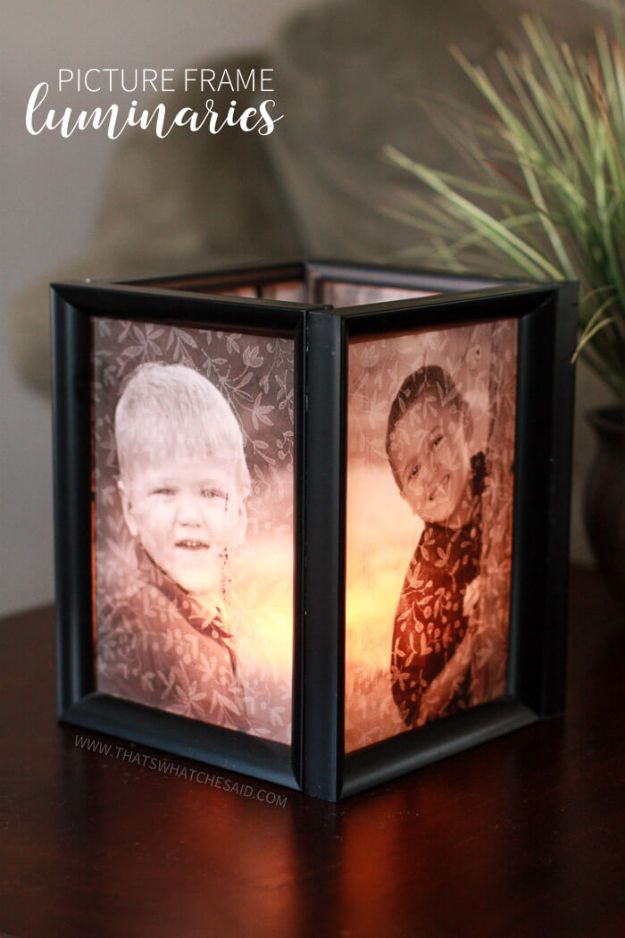 DIY Home Decor On A Budget - Picture Frame Luminaries - Cheap Home Decorations to Make From The Dollar Store and Dollar Tree - Inexpensive Budget Friendly Wall Art, Furniture, Table Accents, Rugs, Pillows, Bedding and Chairs - Candles, Crafts To Make for Your Bedroom, Pretty Signs and Art, Linens, Storage and Organizing Ideas for Apartments #diydecor #decoratingideas #cheaphomedecor