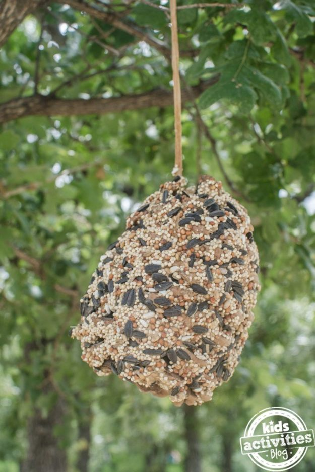 Fun Fall Crafts for Kids - Pine Cone Bird Feeder - Cool Crafts Ideas for Kids to Make With Paper, Glue, Leaves, Corn Husk, Pumpkin and Glitter - Halloween and Thanksgiving - Children Love Making Art, Paintings, Cards and Fall Decor - Placemats, Place Cards, Wall Art , Party Food and Decorations for Toddlers, Boys and Girls http://diyjoy.com/fun-fall-crafts-kids