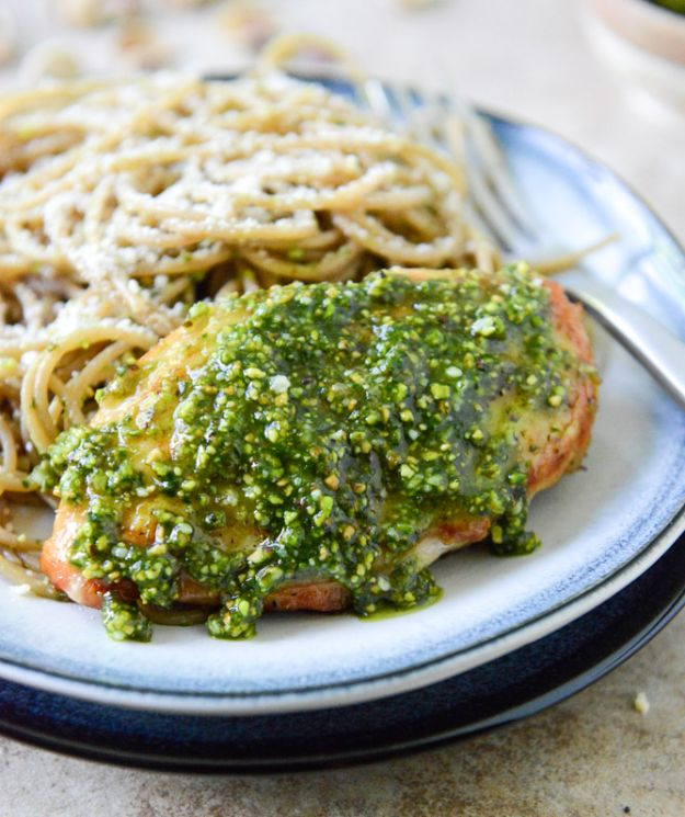 Easy Healthy Chicken Recipes - Pistachio Pesto Chicken With Whole Wheat Spaghetti - Lunch and Dinner Ideas, Party Foods and Casseroles, Idea for the Grill and Salads- Chicken Breast, Baked, Roastedf and Grilled Chicken #recipes #healthy #chicken