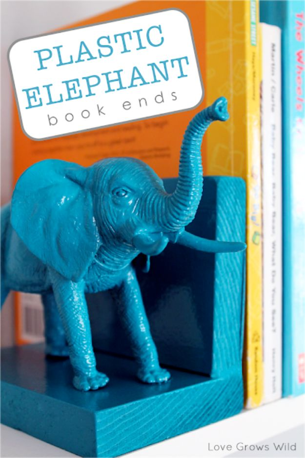 Cheap Dollar Tree Crafts - Plastic Elephant Book Ends - DIY Ideas and Crafts Projects From Dollar Tree Stores - Easy Organizing Project Tutorials and Home Decorations- Cheap Crafts to Make and Sell #dollarstore #dollartree #dollarstorecrafts #cheapcrafts #crafts #diy #diyideas