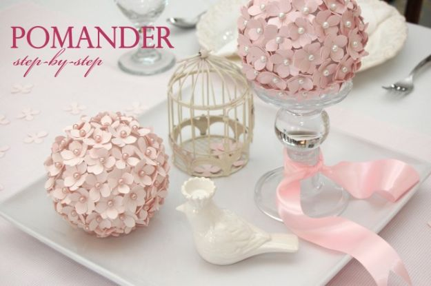 Paper Crafts DIY - Pomander Flower Ball - Papercraft Tutorials and Easy Projects for Make for Decoration and Gift IDeas - Origami, Paper Flowers, Heart Decoration, Scrapbook Notions, Wall Art, Christmas Cards, Step by Step Tutorials for Crafts Made From Papers http://diyjoy.com/paper-crafts-diy