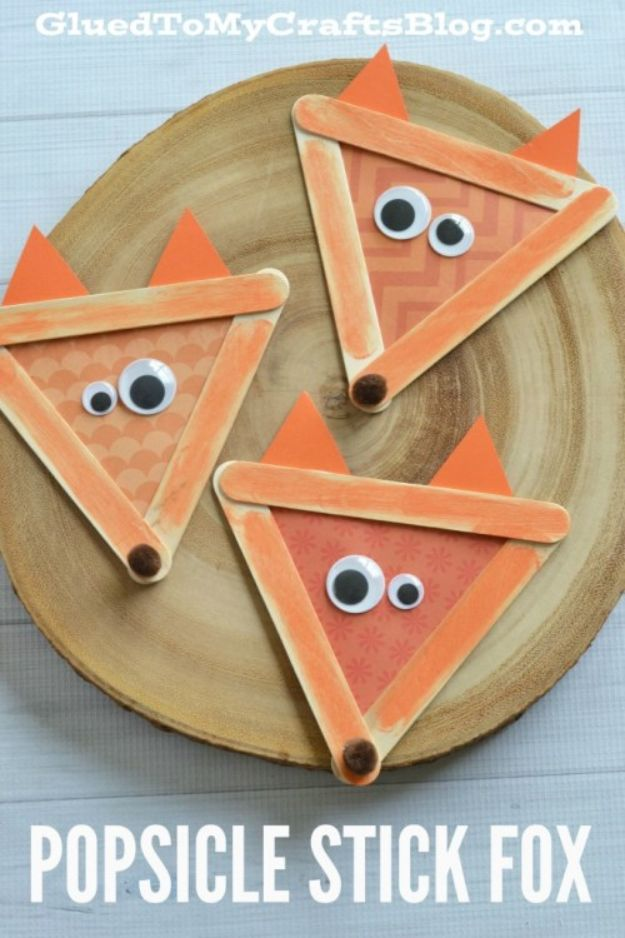 Fun Fall Crafts for Kids - Popsicle Stick Fox – Kid Craft - Cool Crafts Ideas for Kids to Make With Paper, Glue, Leaves, Corn Husk, Pumpkin and Glitter - Halloween and Thanksgiving - Children Love Making Art, Paintings, Cards and Fall Decor - Placemats, Place Cards, Wall Art , Party Food and Decorations for Toddlers, Boys and Girls http://diyjoy.com/fun-fall-crafts-kids