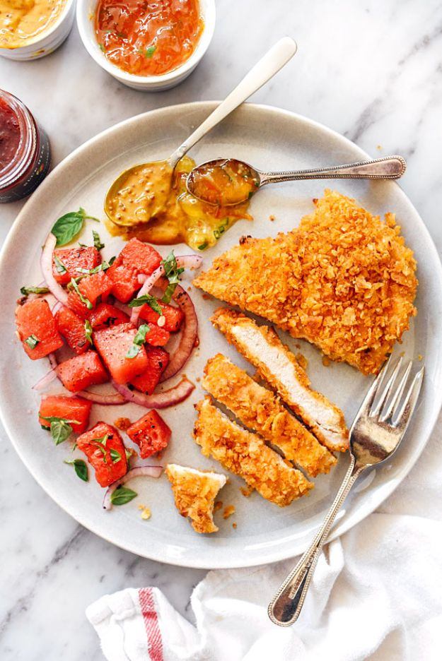 Chicken Breast Recipes - Potato Chip Crusted Chicken Breasts - Healthy, Easy Chicken Recipes for Dinner, Lunch, Parties and Quick Weeknight Meals - Boneless Chicken Breast Casserole Recipes, Oven Baked Ideas, Crockpot Chicken Breasts, Marinades for Grilled Foods, Salads, Shredded Chicken Tacos, Creamy Pasta, Keto and Low Carb, Mexican, Asian and Italian Food #chicken #recipes #healthy