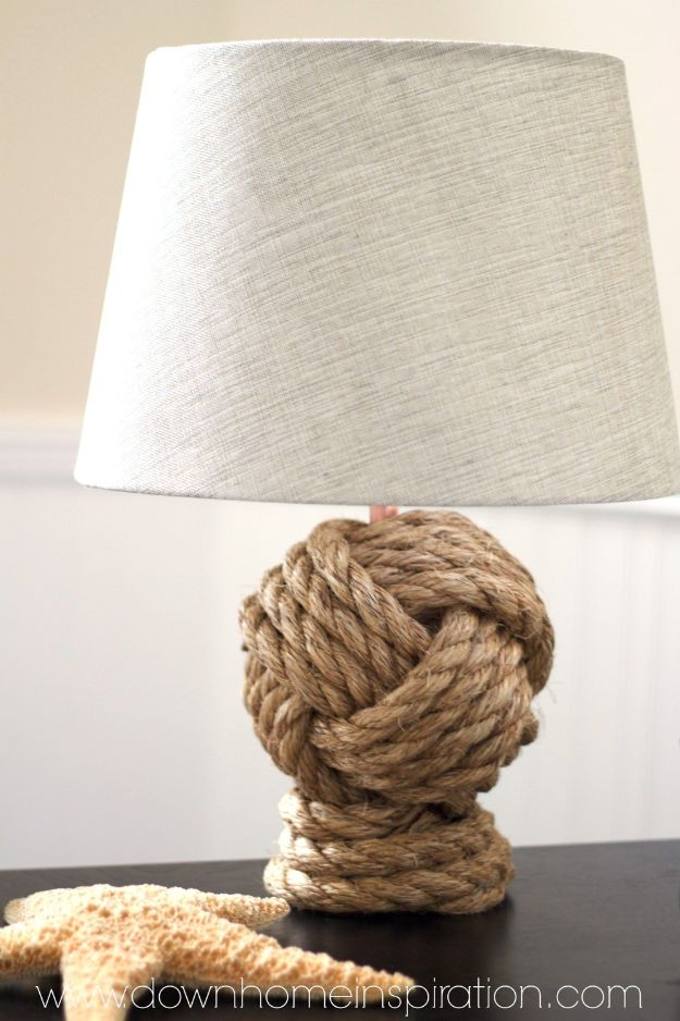 DIY Home Decor On A Budget - Pottery Barn Knockoff Rope Knot Lamp - Cheap Home Decorations to Make From The Dollar Store and Dollar Tree - Inexpensive Budget Friendly Wall Art, Furniture, Table Accents, Rugs, Pillows, Bedding and Chairs - Candles, Crafts To Make for Your Bedroom, Pretty Signs and Art, Linens, Storage and Organizing Ideas for Apartments #diydecor #decoratingideas #cheaphomedecor