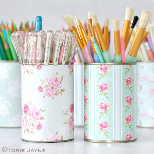 Dollar Tree Crafts - Pretty Pen Pots - DIY Ideas and Crafts Projects From Dollar Tree Stores - Easy Organizing Project Tutorials and Home Decorations- Cheap Crafts to Make and Sell - Organization, Summer Parties, Christmas and Wedding Decor on A Budget - Fun Crafts for Kids and Teens from Dollar Store Items #dollarstore #dollartree #dollarstorecrafts #cheapcrafts #crafts #diy #diyideas http://diyjoy.com/dollar-tree-crafts