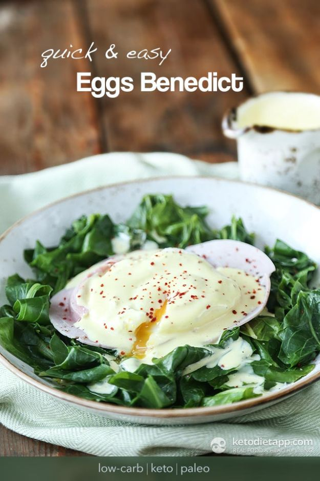 Keto Breakfast Recipes - Quick & Easy Keto Eggs Benedict - Low Carb Breakfasts and Morning Meals for the Ketogenic Diet - Low Carbohydrate Foods on the Go - Easy Crockpot Recipes and Casserole - Muffins and Pancakes, Shake and Smoothie, Ideas With No Eggs http://diyjoy.com/keto-breakfast-recipes