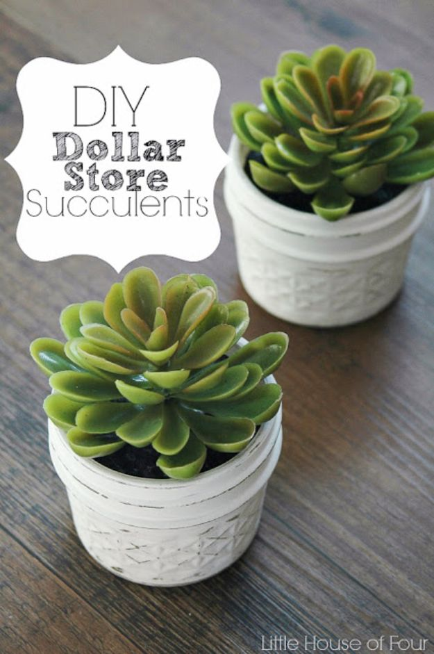 Dollar Tree Crafts - Quick and Easy Dollar Store Succulents - DIY Ideas and Crafts Projects From Dollar Tree Stores - Easy Organizing Project Tutorials and Home Decorations- Cheap Crafts to Make and Sell #dollarstore #dollartree #dollarstorecrafts #cheapcrafts #crafts #diy #diyideas