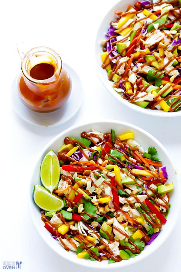 Easy Healthy Chicken Recipes - Rainbow Thai Chicken Salad - Lunch and Dinner Ideas, Party Foods and Casseroles, Idea for the Grill and Salads- Chicken Breast, Baked, Roastedf and Grilled Chicken - Add Shrimp, Penne Pasta, Beef, Sausage - Glazed, Barbecue and Instant Pot, Crockpot Chicken Dishes and Recipe Ideas http://diyjoy.com/easy-healthy-chicken-recipes
