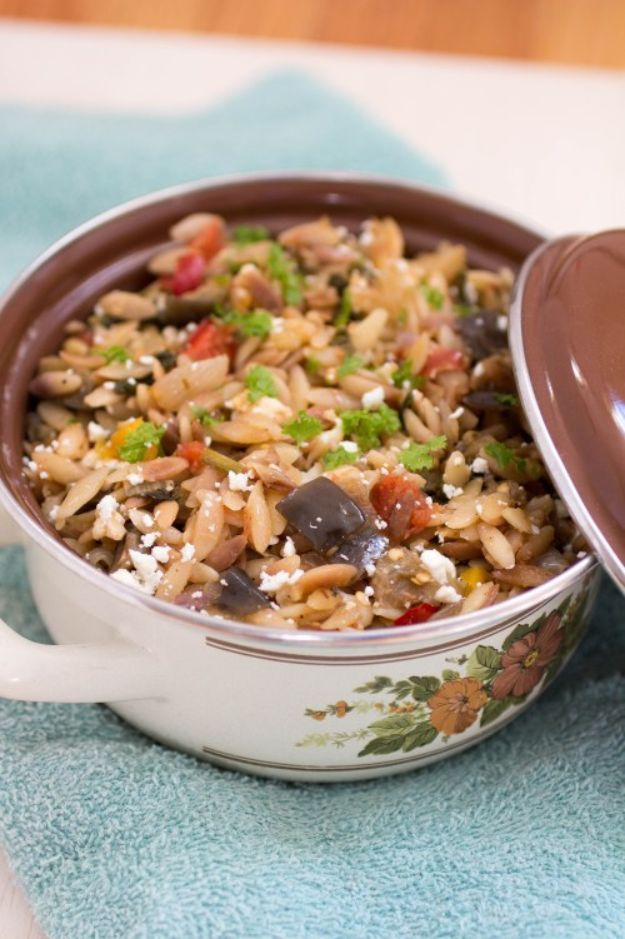 Best Casserole Recipes - Ratatouille Orzo - Healthy One Pan Meals Made With Chicken, Hamburger, Potato, Pasta Noodles and Vegetable - Quick Casseroles Kids Like - Breakfast, Lunch and Dinner Options - Mexican, Italian and Homestyle Favorites - Party Foods for A Crowd and Potluck Dishes http://diyjoy.com/best-casserole-recipes