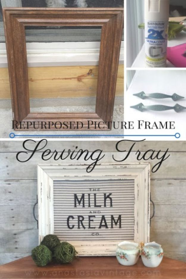 Thrift Store DIY Makeovers - Repurposed Picture Frame Serving Tray - Decor and Furniture With Upcycling Projects and Tutorials - Room Decor Ideas on A Budget - Crafts and Decor to Make and Sell - Before and After Photos - Farmhouse, Outdoor, Bedroom, Kitchen, Living Room and Dining Room Furniture http://diyjoy.com/thrift-store-makeovers