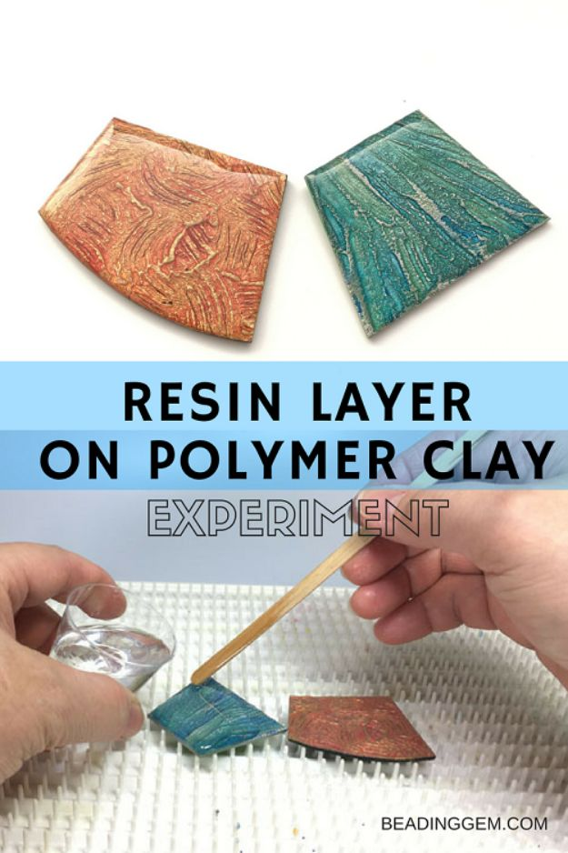 DIY Resin Casting Crafts - Resin Layer On Polymer Clay - Homemade Resin and Epoxy Craft Projects and Ideas - How to Make Resin Jewelry - Use Silicon Molds to Make Paper Weights, Creative Christmas Ornaments and Crafts to Make and Sell - Flowers, Pictures, Clocks, Tabletop, Inspiration for Handmade Jewelry and Items to Sell on Etsy #crafts