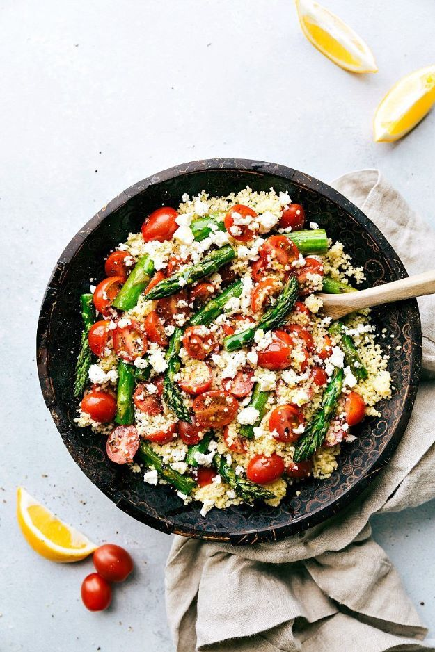 Asparagus Recipes - Roasted Asparagus, Tomato & Feta Couscous - DIY Asparagus Recipe Ideas for Homemade Soups, Sides and Salads - Easy Tutorials for Roasted, Sauteed, Steamed, Baked, Grilled and Pureed Asparagus - Party Foods, Quick Dinners, Dishes With Cheese, Vegetarian and Vegan Options - Healthy Recipes With Step by Step Instructions
