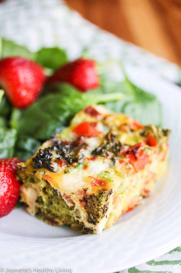 Best Casserole Recipes - Roasted Broccoli Red Bell Pepper Pancetta Breakfast Casserole - Healthy One Pan Meals Made With Chicken, Hamburger, Potato, Pasta Noodles and Vegetable - Quick Casseroles Kids Like - Breakfast, Lunch and Dinner Options - Mexican, Italian and Homestyle Favorites - Party Foods for A Crowd and Potluck Dishes #recipes #casseroles