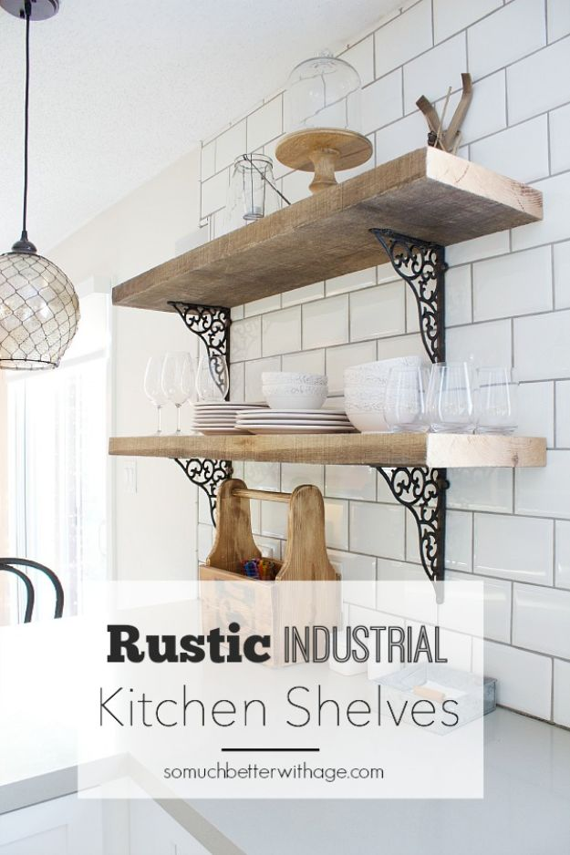 DIY Industrial Decor - Rustic Industrial Kitchen Shelves - Industrail Shelves, Furniture, Table, Desk, Cart, Headboard, Chandelier, Bookcase - Easy Pipe Shelf Tutorial - Rustic Farmhouse Home Decor on A Budget - Lighting Ideas for Bedroom, Bathroom and Kitchen http://diyjoy.com/diy-industrial-decor