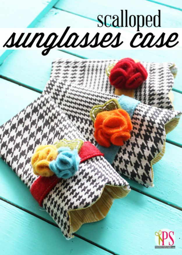 Cheap DIY Gift Ideas - Scalloped Sunglasses Case - List of Handmade Gifts on A Budget and Inexpensive Christmas Presents - Do It Yourself Gift Idea for Family and Friends, Mom and Dad, For Guys and Women, Boyfriend, Girlfriend, BFF, Kids and Teens - Dollar Store and Dollar Tree Crafts, Home Decor, Room Accessories and Fun Things to Make At Home http://diyjoy.com/cheap-diy-gift-ideas