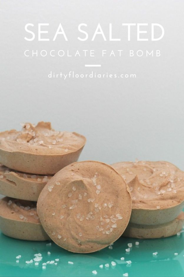 Keto Fat Bombs and Best Ketogenic Recipe Ideas to Make At Home - Sea Salted Chocolate Fat bombs - Easy Recipes With Peanut Butter, Cream Cheese, Chocolate, Coconut Oil, Coffee low carb fat bombs #keto #ketorecipes