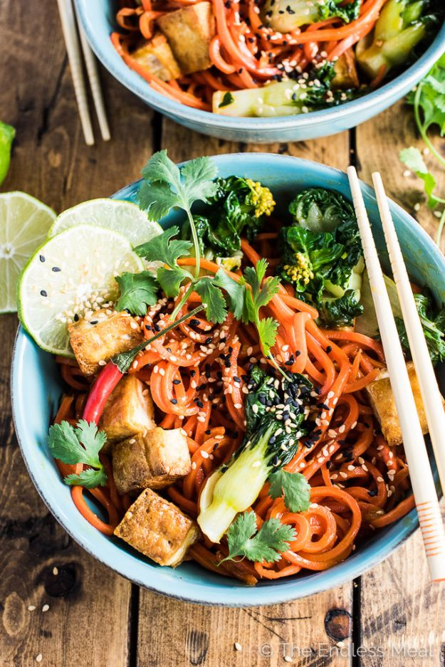 Veggie Noodle Recipes - Sesame Ginger Carrot Noodle Stir Fry with Bok Choy and Crispy Tofu - How to Cook With Veggie Noodles - Healthy Pasta Recipe Ideas - How to Make Veggie Noodles With Carrots and Zucchini - Vegan, Vegetarian , Keto and Low Carb Dishes for Your Diet - Meatballs, Chicken, Cheese, Asian Stir Fry, Salad and Raw Preparations #veggienoodles #recipes #keto #lowcarb #ketorecipes http://diyjoy.com/veggie-noodle-recipes