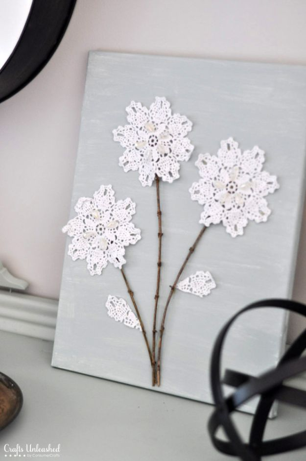 DIY Home Decor On A Budget - Shabby Chic DIY Canvas Wall Art - Cheap Home Decorations to Make From The Dollar Store and Dollar Tree - Inexpensive Budget Friendly Wall Art, Furniture, Table Accents, Rugs, Pillows, Bedding and Chairs - Candles, Crafts To Make for Your Bedroom, Pretty Signs and Art, Linens, Storage and Organizing Ideas for Apartments #diydecor #decoratingideas #cheaphomedecor