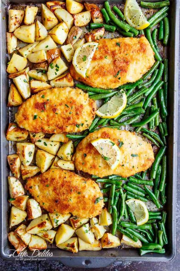 Easy Dinner Recipes - Sheet Pan Lemon Parmesan Garlic Chicken - Quick and Simple Dinner Recipe Ideas for Weeknight and Last Minute Supper - Chicken, Ground Beef, Fish, Pasta, Healthy Salads, Low Fat and Vegetarian Dishes - Easy Meals for the Family, for Two, for One and Cook Ahead Crockpoit Dinners - Cheap Casseroles and Budget Friendly Foods to Make at Home http://diyjoy.com/easy-dinner-recipes