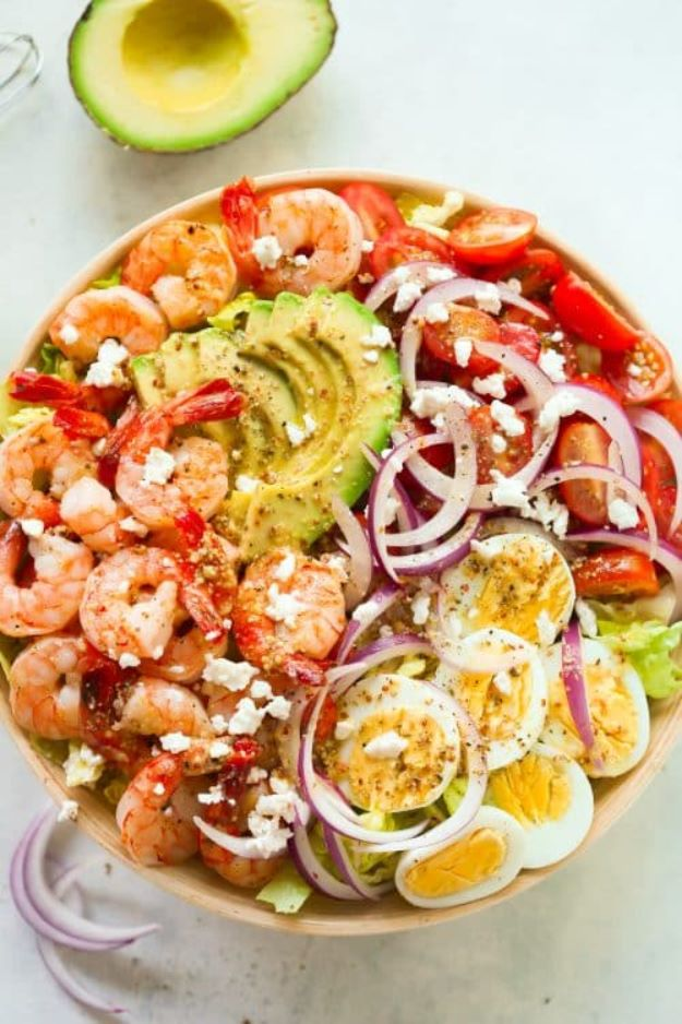 Avocado Recipes - Shrimp Avocado Tomato Salad - Quick Avocado Toast, Eggs, Keto Guacamole, Dips, Salads, Healthy Lunches, Breakfast, Dessert and Dinners - Party Foods, Soups, Low Carb Salad Dressings and Smoothie http://diyjoy.com/avocado-recipes