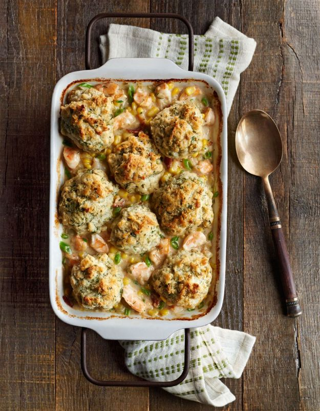 Best Casserole Recipes - Shrimp Chowder with Herb Drop Biscuits - Healthy One Pan Meals Made With Chicken, Hamburger, Potato, Pasta Noodles and Vegetable - Quick Casseroles Kids Like - Breakfast, Lunch and Dinner Options - Mexican, Italian and Homestyle Favorites - Party Foods for A Crowd and Potluck Dishes #recipes #casseroles
