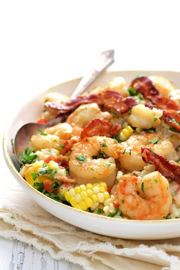 Best Italian Recipes - Shrimp and Corn Risotto with Bacon - Authentic and Traditional italian dishes For Dinner, Appetizers, and Easy Lunch - Pasta with Chicken, Lasagna, Noodles With Cheese, Healthy Recipe Ideas - Party Trays and Food For A Crowd - Fettucini, Spaghetti, Alfredo Sauce, Meatballs, Grilled Steak and Fish, Soup, Seafood, Vegetarian and Crockpot Versions #italian