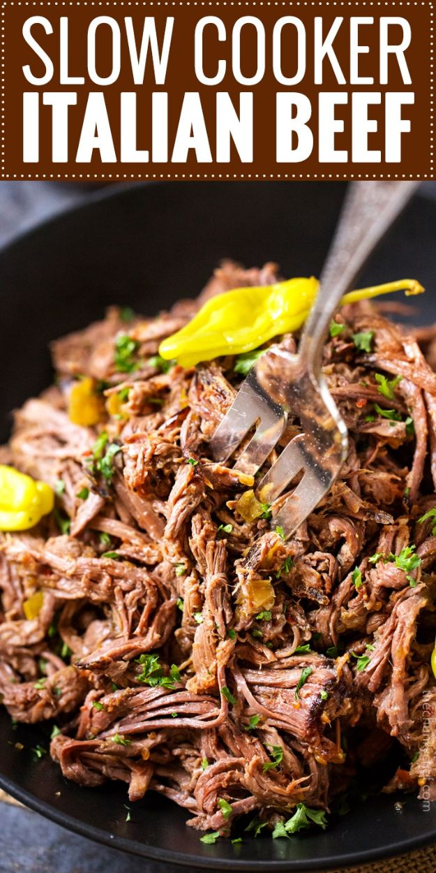Best Italian Recipes - Slow Cooker Italian Beef - Authentic and Traditional italian dishes For Dinner, Appetizers, and Easy Lunch - Pasta with Chicken, Lasagna, Noodles With Cheese, Healthy Recipe Ideas - Party Trays and Food For A Crowd - Fettucini, Spaghetti, Alfredo Sauce, Meatballs, Grilled Steak and Fish, Soup, Seafood, Vegetarian and Crockpot Versions #italian #italianfood #recipes #italianrecipes http://diyjoy.com/best-italian-recipes