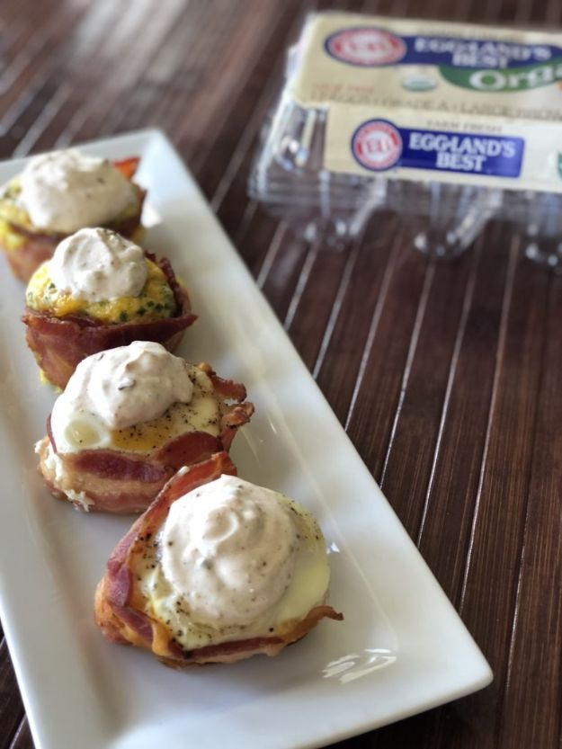 Keto Breakfast Recipes - Southwestern Keto Bacon and Egg Cups - Low Carb Breakfasts and Morning Meals for the Ketogenic Diet - Low Carbohydrate Foods on the Go - Easy Crockpot Recipes and Casserole - Muffins and Pancakes, Shake and Smoothie, Ideas With No Eggs http://diyjoy.com/keto-breakfast-recipes