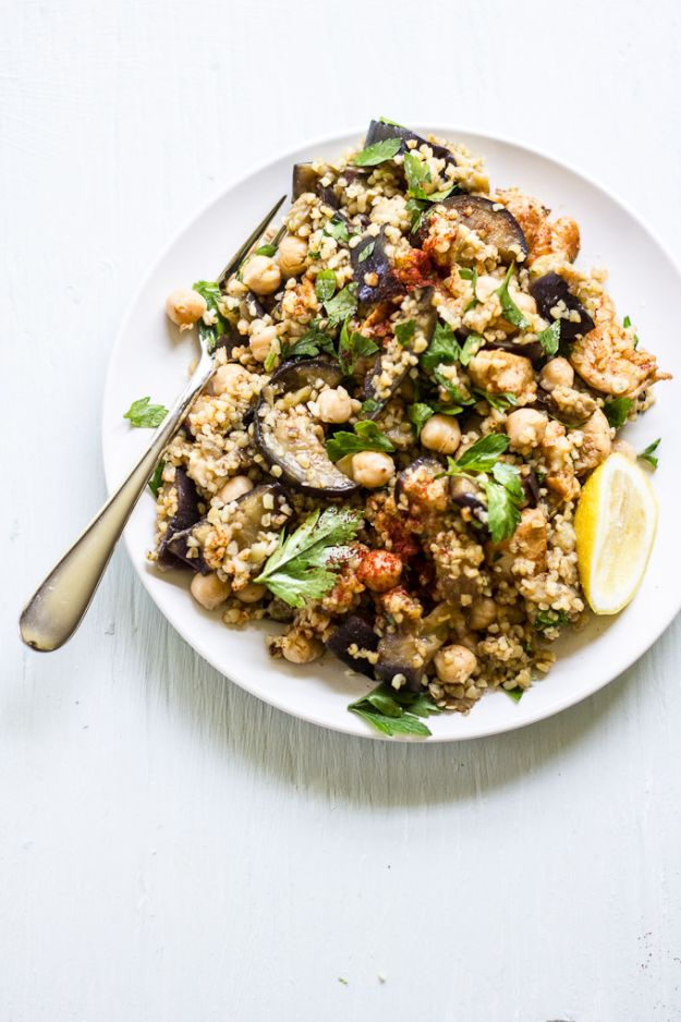 Easy Healthy Chicken Recipes - Spiced Eggplant, Chicken + Chickpea Salad - Lunch and Dinner Ideas, Party Foods and Casseroles, Idea for the Grill and Salads- Chicken Breast, Baked, Roastedf and Grilled Chicken #recipes #healthy #chicken