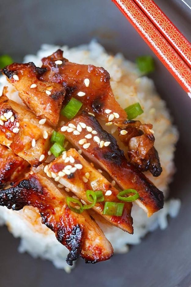 Easy Dinner Recipes - Spicy Korean Chicken - Quick and Simple Dinner Recipe Ideas for Weeknight and Last Minute Supper - Chicken, Ground Beef, Fish, Pasta, Healthy Salads, Low Fat and Vegetarian Dishes - Easy Meals for the Family, for Two, for One and Cook Ahead Crockpoit Dinners - Cheap Casseroles and Budget Friendly Foods to Make at Home http://diyjoy.com/easy-dinner-recipes
