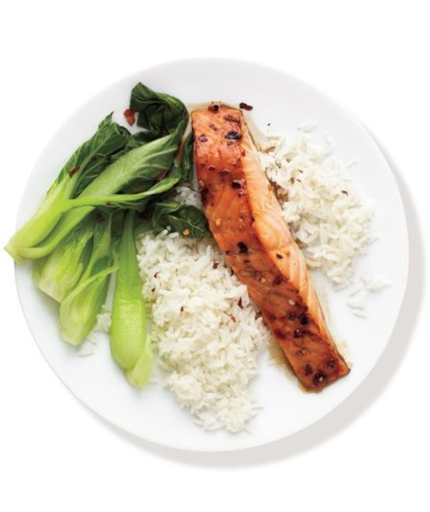 Easy Dinner Recipes - Spicy Salmon With Bok Choy and Rice - Quick and Simple Dinner Recipe Ideas for Weeknight and Last Minute Supper - Chicken, Ground Beef, Fish, Pasta, Healthy Salads, Low Fat and Vegetarian Dishes #easyrecipes #dinnerideas #recipes