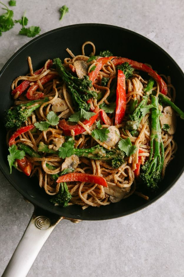 Veggie Noodle Recipes - Spicy Tenderstem & Peanut Noodle Stir Fry - How to Cook With Veggie Noodles - Healthy Pasta Recipe Ideas - How to Make Veggie Noodles With Carrots and Zucchini - Vegan, Vegetarian , Keto and Low Carb Dishes for Your Diet - Meatballs, Chicken, Cheese, Asian Stir Fry, Salad and Raw Preparations #veggienoodles #recipes #keto #lowcarb #ketorecipes http://diyjoy.com/veggie-noodle-recipes