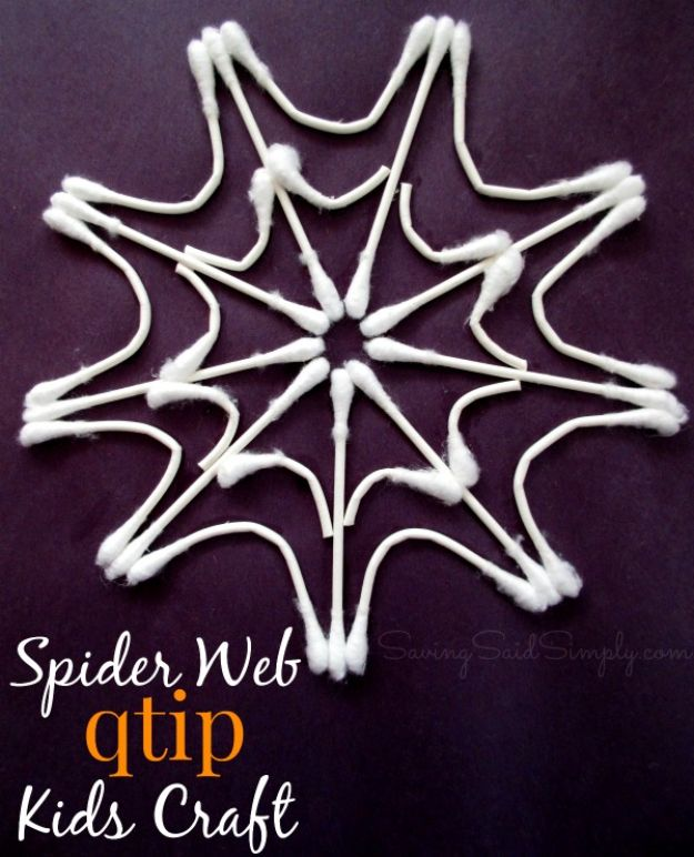 Fun Fall Crafts for Kids -Spider Web Q Tip Craft - Cool Crafts Ideas for Kids to Make With Paper, Glue, Leaves, Corn Husk, Pumpkin and Glitter - Halloween and Thanksgiving - Children Love Making Art, Paintings, Cards and Fall Decor - Placemats, Place Cards, Wall Art , Party Food and Decorations for Toddlers, Boys and Girls http://diyjoy.com/fun-fall-crafts-kids