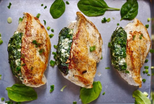 Chicken Breast Recipes - Spinach Stuffed Chicken Breasts - Healthy, Easy Chicken Recipes for Dinner, Lunch, Parties and Quick Weeknight Meals - Boneless Chicken Breast Casserole Recipes, Oven Baked Ideas, Crockpot Chicken Breasts, Marinades for Grilled Foods, Salads, Shredded Chicken Tacos, Creamy Pasta, Keto and Low Carb, Mexican, Asian and Italian Food #chicken #recipes #healthy