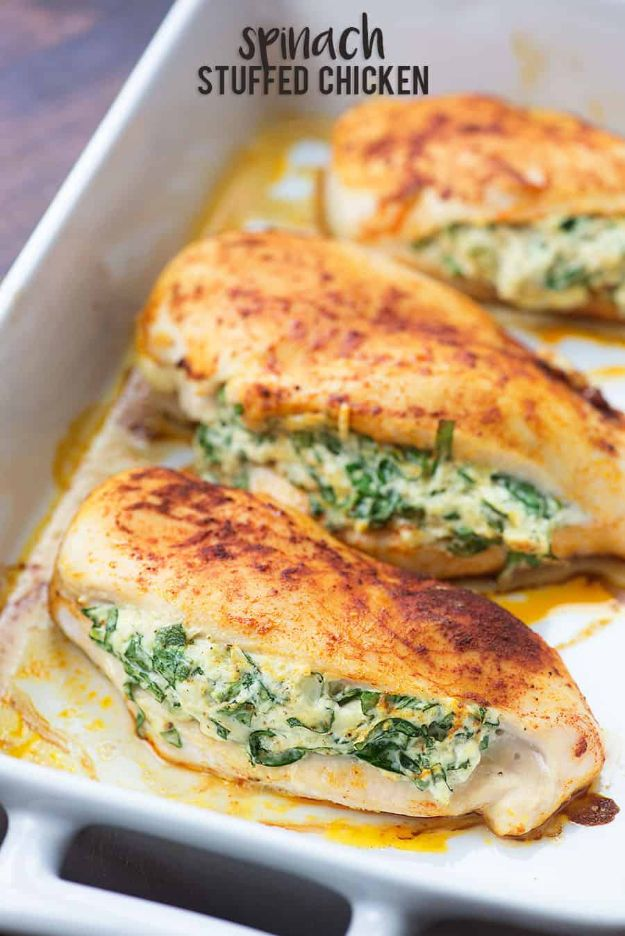 Easy Healthy Chicken Recipes - Spinach Stuffed Chicken - Lunch and Dinner Ideas, Party Foods and Casseroles, Idea for the Grill and Salads- Chicken Breast, Baked, Roastedf and Grilled Chicken #recipes #healthy #chicken