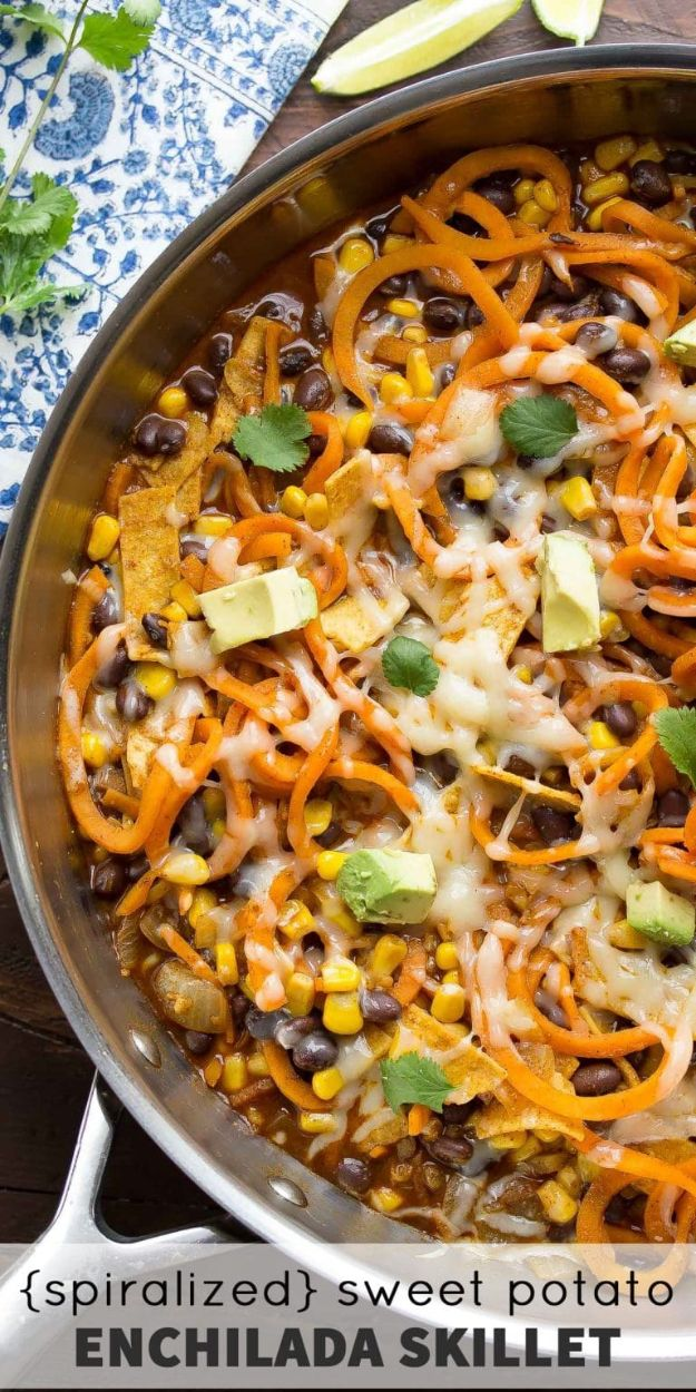 Veggie Noodle Recipes - Spiralized Sweet Potato Enchilada Skillet - How to Cook With Veggie Noodles - Healthy Pasta Recipe Ideas - How to Make Veggie Noodles With Carrots and Zucchini - Vegan, Vegetarian , Keto and Low Carb Dishes for Your Diet - Meatballs, Chicken, Cheese, Asian Stir Fry, Salad and Raw Preparations #veggienoodles #recipes #keto #lowcarb #ketorecipes http://diyjoy.com/veggie-noodle-recipes