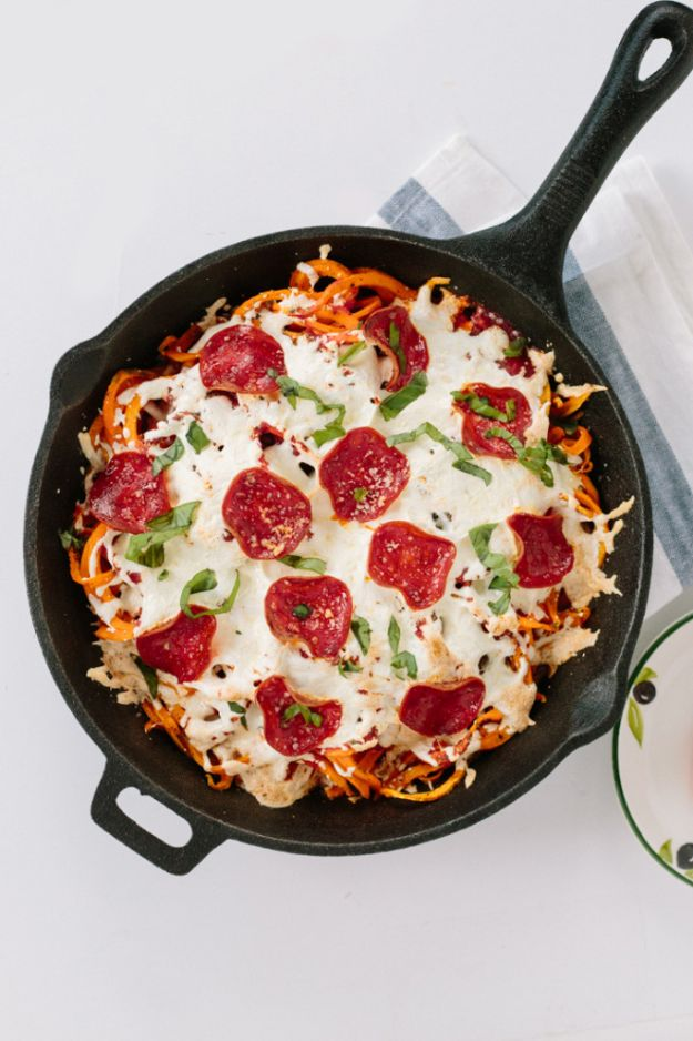 Veggie Noodle Recipes - Spiralized Sweet Potato Pizza bake With Turkey Pepperoni - How to Cook With Veggie Noodles - Healthy Pasta Recipe Ideas - How to Make Veggie Noodles With Carrots and Zucchini - Vegan, Vegetarian , Keto and Low Carb Dishes for Your Diet - Meatballs, Chicken, Cheese, Asian Stir Fry, Salad and Raw Preparations #veggienoodles #recipes #keto #lowcarb #ketorecipes http://diyjoy.com/veggie-noodle-recipes