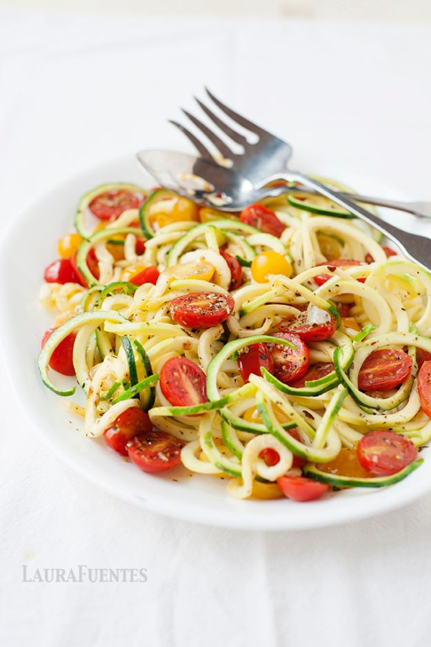 Veggie Noodle Recipes - Spiralized Zucchini And Tomatoes - How to Cook With Veggie Noodles - Healthy Pasta Recipe Ideas - How to Make Veggie Noodles With Carrots and Zucchini - Vegan, Vegetarian , Keto and Low Carb Dishes for Your Diet - Meatballs, Chicken, Cheese, Asian Stir Fry, Salad and Raw Preparations #veggienoodles #recipes #keto #lowcarb #ketorecipes #veggies #healthyrecipes #veganrecipes