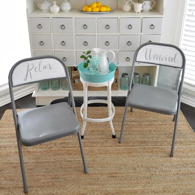 Thrift Store DIY Makeovers - Spray and Chalk Paint Folding Chair Makeover - Decor and Furniture With Upcycling Projects and Tutorials - Room Decor Ideas on A Budget - Crafts and Decor to Make and Sell - Before and After Photos - Farmhouse, Outdoor, Bedroom, Kitchen, Living Room and Dining Room Furniture http://diyjoy.com/thrift-store-makeovers
