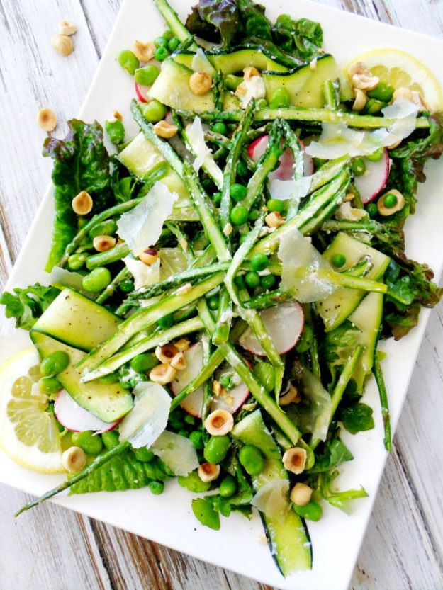 Asparagus Recipes - Spring Salad with Asparagus, Goat Cheese, Lemon and Hazelnuts - DIY Asparagus Recipe Ideas for Homemade Soups, Sides and Salads - Easy Tutorials for Roasted, Sauteed, Steamed, Baked, Grilled and Pureed Asparagus - Party Foods, Quick Dinners, Dishes With Cheese, Vegetarian and Vegan Options - Healthy Recipes With Step by Step Instructions http://diyjoy.com/asparagus-recipes