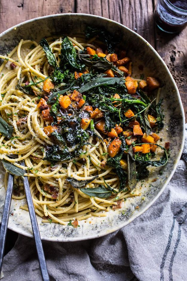 Best Pasta Recipes - Squash Carbonara With Broccoli Rabe and Sage - Easy Pasta Recipe Ideas for Dinner, Lunch and Party Foods - Healthy and Easy Pastas With Shrimp, Beef, Chicken, Sausage, Tomato and Vegetarian - Creamy Alfredo, Marinara Red Sauce - Homemade Sauces and One Pot Meals for Quick Prep - Penne, Fettucini, Spaghetti, Ziti and Angel Hair http://diyjoy.com/pasta-recipes