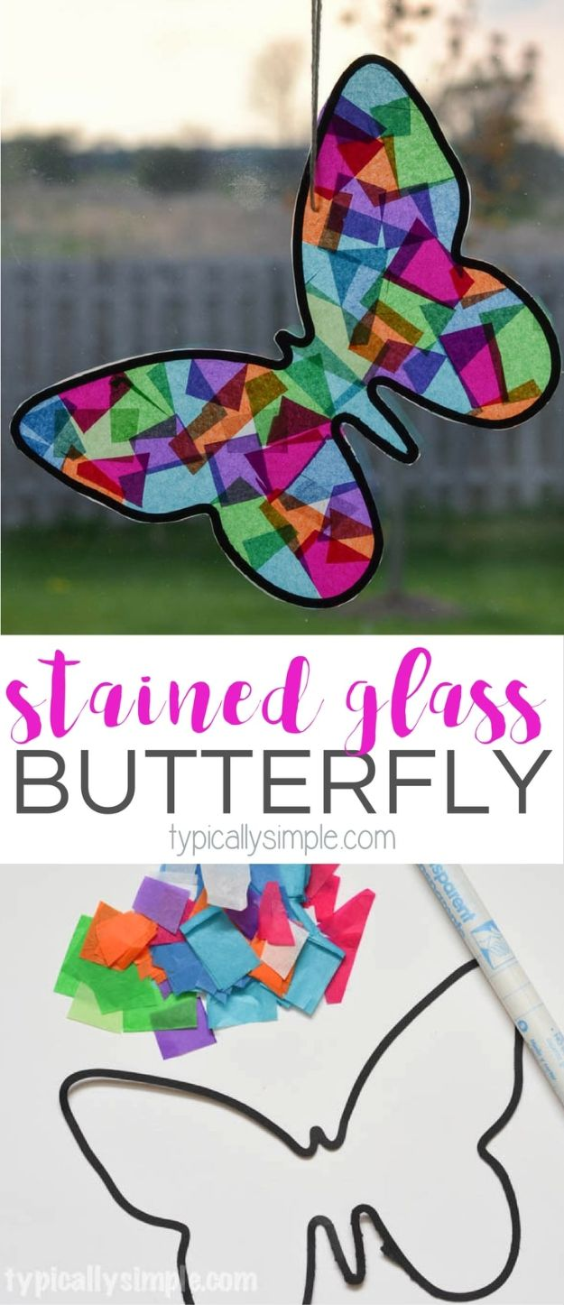 Paper Crafts DIY - Stained Glass Butterfly - Papercraft Tutorials and Easy Projects for Make for Decoration and Gift IDeas - Origami, Paper Flowers, Heart Decoration, Scrapbook Notions, Wall Art, Christmas Cards, Step by Step Tutorials for Crafts Made From Papers http://diyjoy.com/paper-crafts-diy
