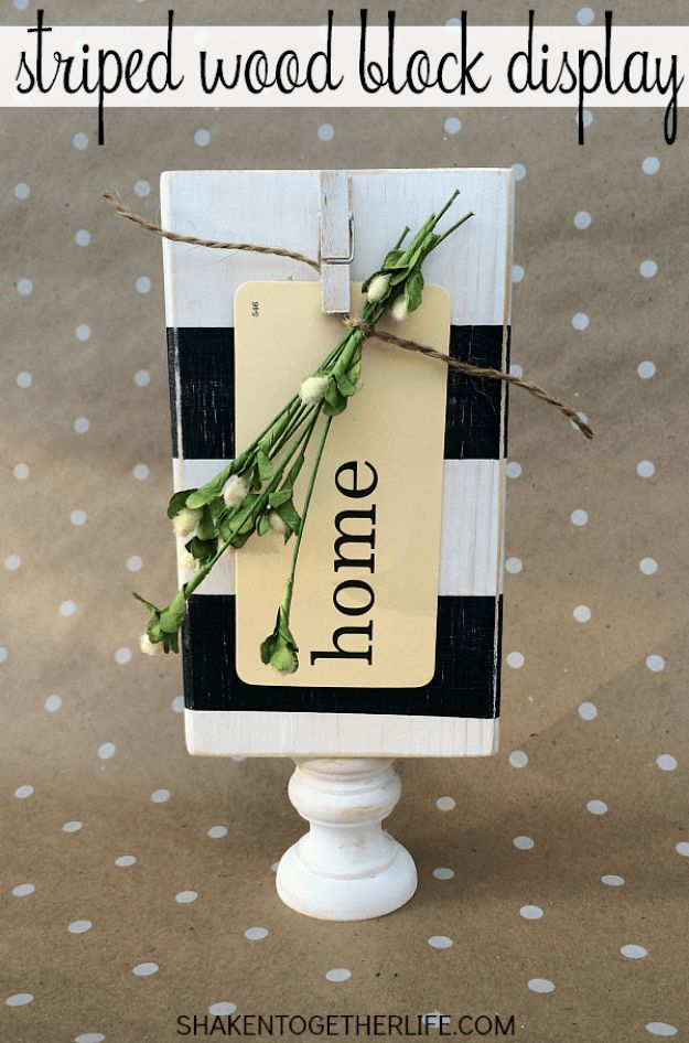 Cheap DIY Gift Ideas - Striped Wood Block Display - List of Handmade Gifts on A Budget and Inexpensive Christmas Presents - Do It Yourself Gift Idea for Family and Friends, Mom and Dad, For Guys and Women, Boyfriend, Girlfriend, BFF, Kids and Teens - Dollar Store and Dollar Tree Crafts, Home Decor, Room Accessories and Fun Things to Make At Home http://diyjoy.com/cheap-diy-gift-ideas
